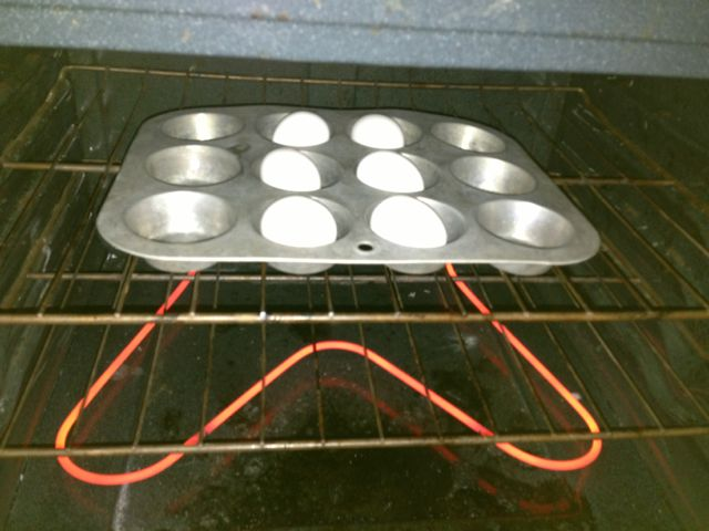 Bake the eggs at 350˚.  I didn't even bother preheating.  I just put the eggs in, cranked it up, and set the timer for 25 minutes.