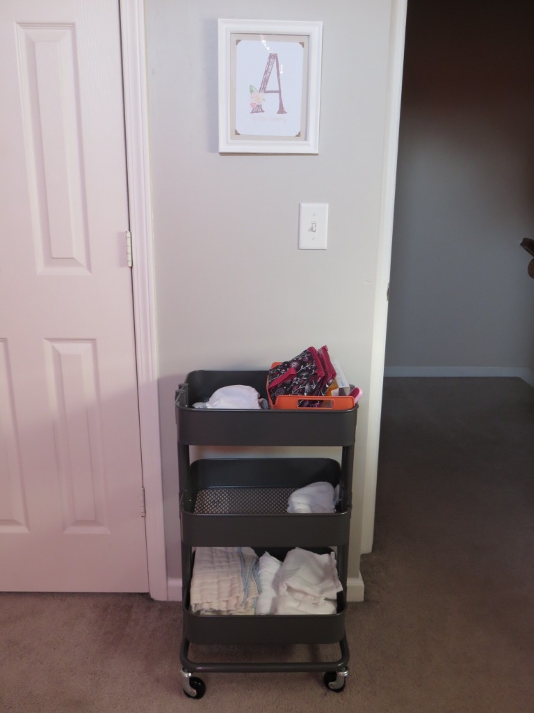 I am using a bar cart from Ikea for our cloth diaper storage.