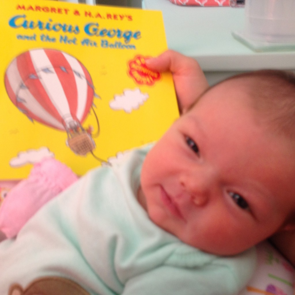 Avery seemed to enjoy the first book I read her!  I think we have a future bookworm on our hands!