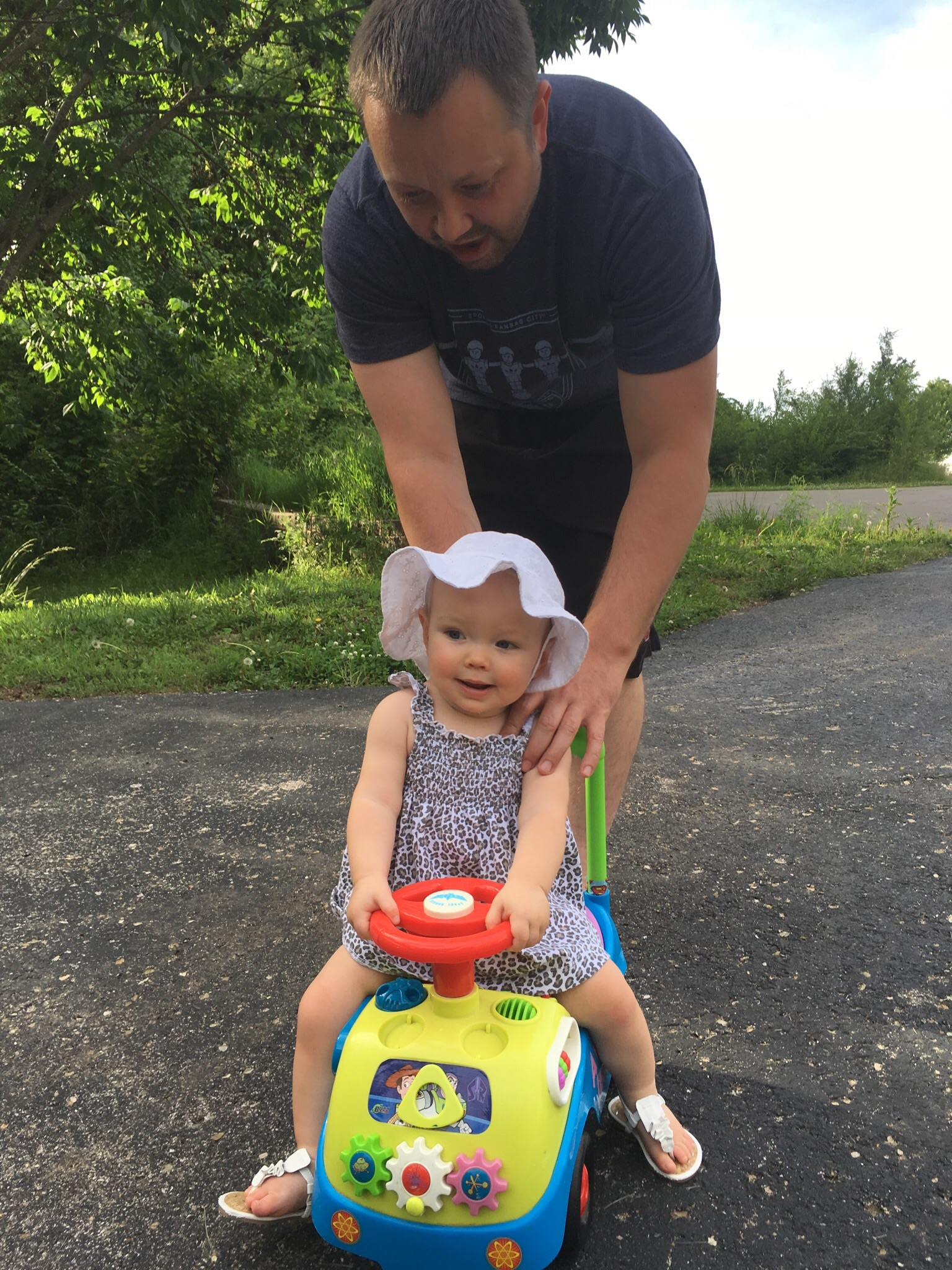 Daddy and Avery off-roading on the trail!