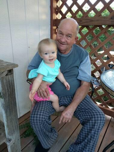 Avery and her Great Grandpa Bloesser in their jammies.